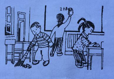 二年级看图写话_做值日