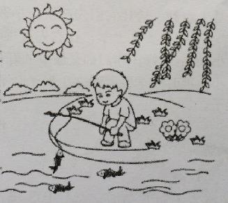 被风吹着柳树简笔画